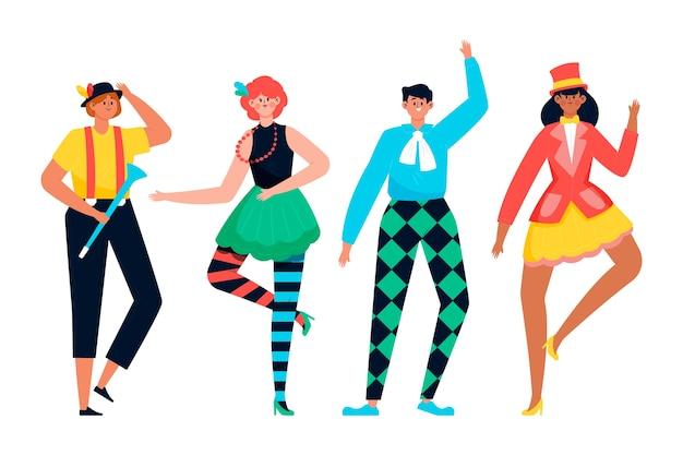 Karnawałowa kolekcja tancerzy i ruchów odizolowywająca na białym tle
