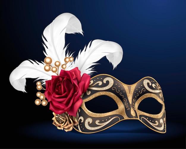 Karnawałowa piękna maska z piórami i różami na ilustracji 3d