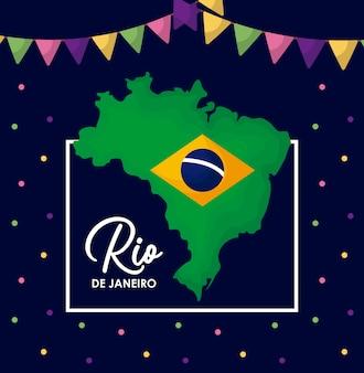 Karnawałowa rio janeiro karta z mapą