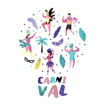 Karnawałowe doodle z tańczącymi postaciami ludzi