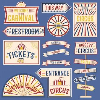 Karnawałowe etykiety cyrkowe pokazują elementy vintage designu cyrkowego na temat imprezy.