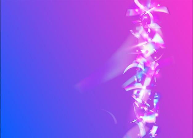 Karnawałowe konfetti. efekt hologramu. folia cyfrowa. sztuka współczesna. różowy disco błyszczy. projekt strony. brokat kalejdoskopu. laserowa ilustracja kolorowy. fioletowe konfetti karnawałowe