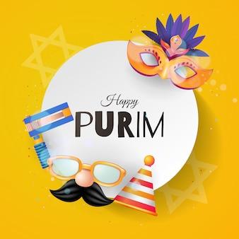 Karnawałowe maski i przedmioty na festiwal purim