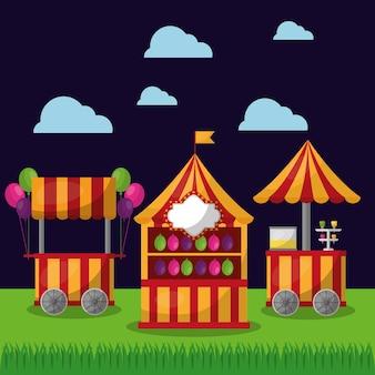 Karnawałowe stoisko żywności i lody wesołe święto festiwalu