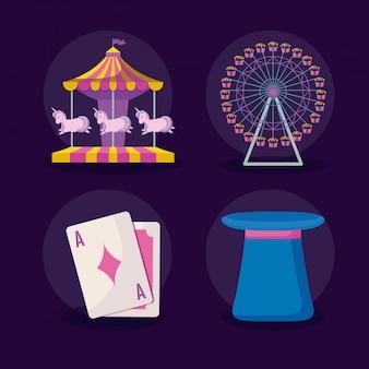 Karnawałowe uroczystości zestaw ikon