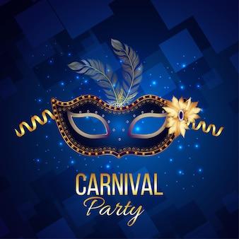 Karnawałowe wydarzenie plakat lub kartkę z życzeniami na niebieskim tle