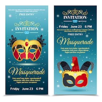 Karnawałowe zaproszenia pionowe banery