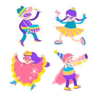 Karnawałowi młodzi tancerze w kolorowych kostiumach
