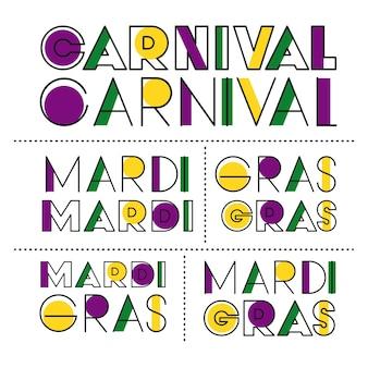 Karnawałowy mardi gras majcheru teksta set