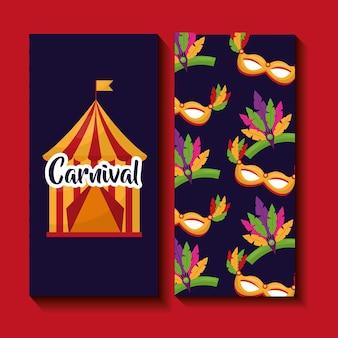 Karnawałowy namiot i maska wesołego festiwalu