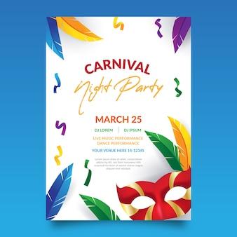 Karnawałowy plakat imprezowy z kolorowymi piórkami