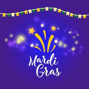 Karnawałowy plakat, sztandar z kolorowymi partyjnymi elementami - maski, confetti, gwiazdy i pluśnięcia.