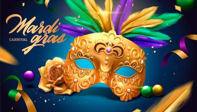 Karnawałowy projekt mardi gras ze złotą maską i piórami na ilustracji 3d