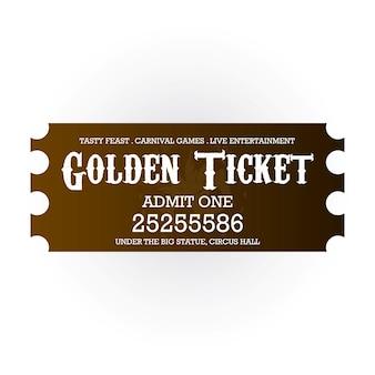 Karnawałowy złoty bilet dla wejścia na białym tle