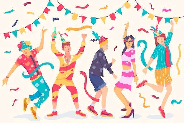 Karnawałowych tancerzy inkasowy temat dla ilustraci