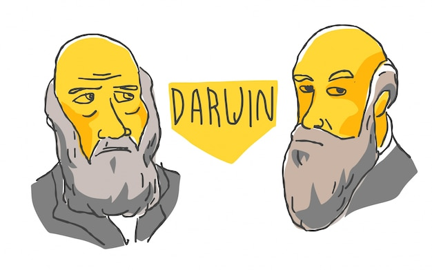 Karol darwin w żółtym i czarnym szkicu