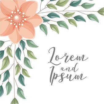 Karta ślubna z kwiatami