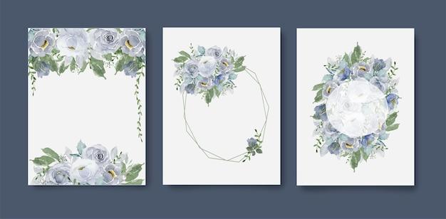 Karta akwarela dekoracji z ramą. zestaw szare fioletowe kwiaty i liście