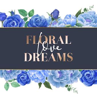 Karta akwarela niebieskie kwiaty róży