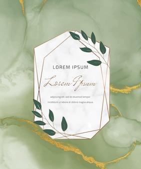 Karta akwarela z zielonym tuszem alkoholowym z marmurową geometryczną ramą i liśćmi