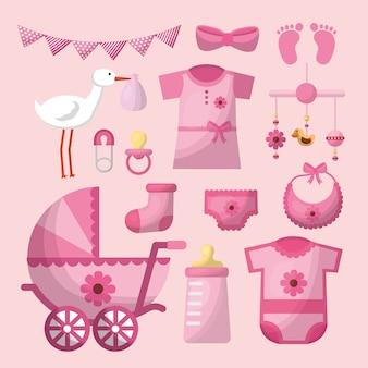 Karta baby shower bocian różowy banderka butelka mleko ubrania kochanie carriege dziewczyna dzień