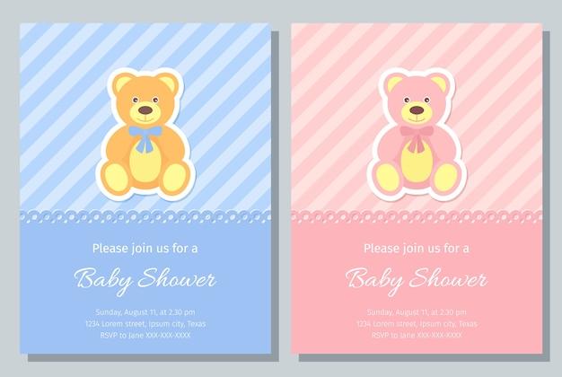 Karta baby shower. . chłopczyk, dziewczyna zapraszam. tło strony urodzenia. ładny niebieski, różowy wzór. powitalny szablon zaproszenia banner. szczęśliwego pozdrowienia wakacje plakat z misiem. płaska ilustracja.