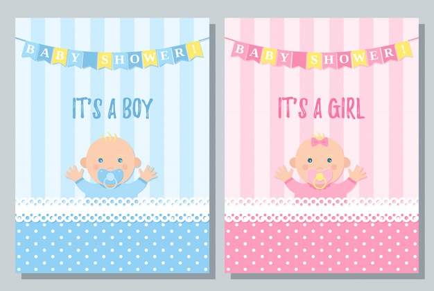 Karta baby shower. chłopiec, projekt dziewczyny.
