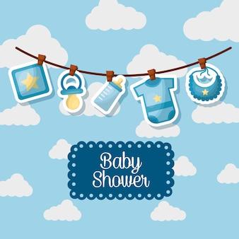 Karta baby shower karty chmury tło ubrania linia smoczek uroczystość ur