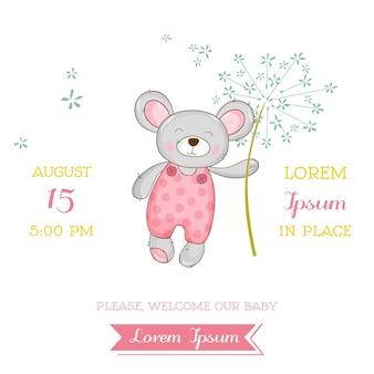 Karta baby shower lub przyjazdu - baby mouse girl