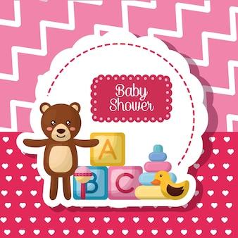 Karta baby shower paskiem różowy tło ładny niedźwiedź wiele zabawek ur