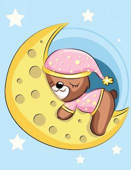 Karta baby shower śpiący niedźwiedź brunatny na księżycu