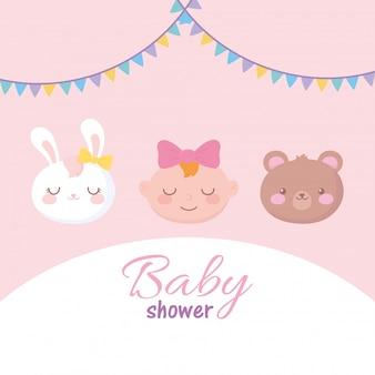 Karta baby shower, urocze twarze mała dziewczynka królik i niedźwiedź, powitanie noworodka