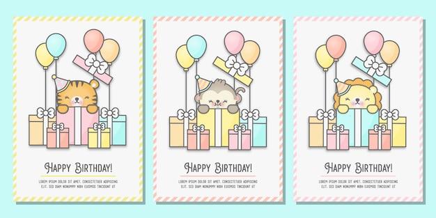 Karta baby shower, urodzinowa kartka okolicznościowa z tygrysem, małpą i lwem stojącym w pudełkach prezentowych.