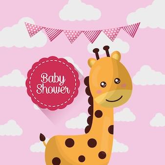 Karta baby shower uśmiechnięta urocze żyrafa różowe chmury proporzec ur