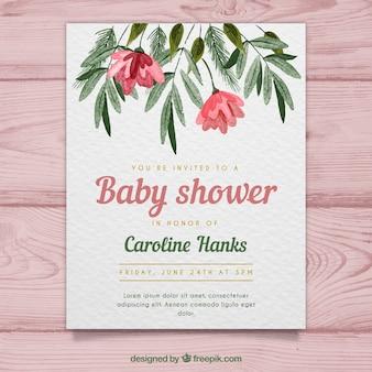 Karta baby shower w stylu przypominającym akwarele