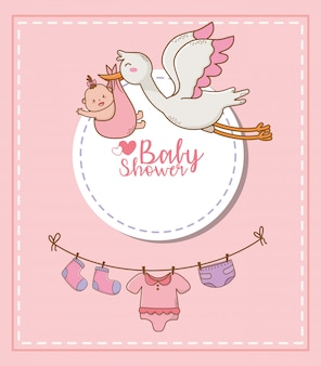 Karta baby shower z bocianem