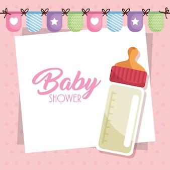 Karta baby shower z butelką mleka