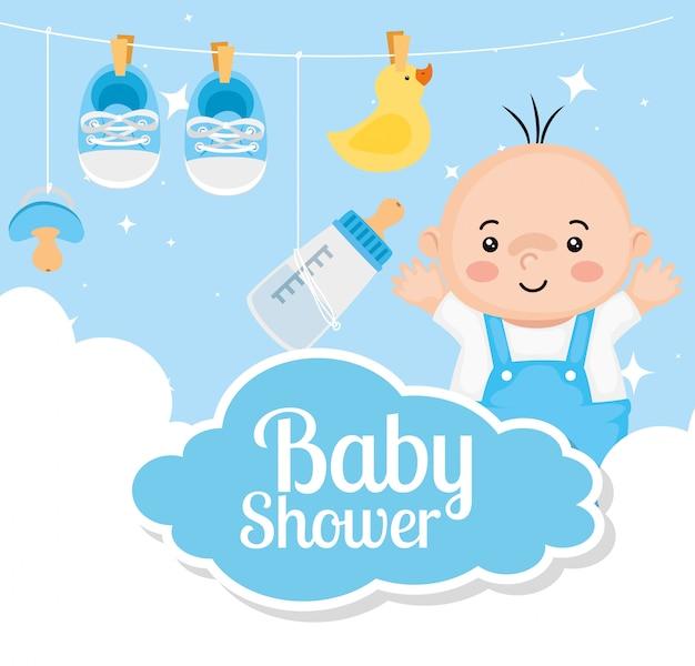 Karta baby shower z chłopca i dekoracji