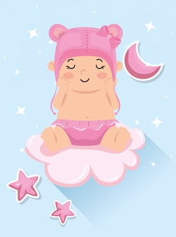 Karta baby shower z córeczką i dekoracją