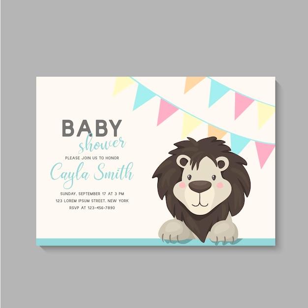 Karta baby shower z lwem