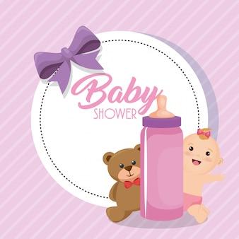 Karta baby shower z małą dziewczynką