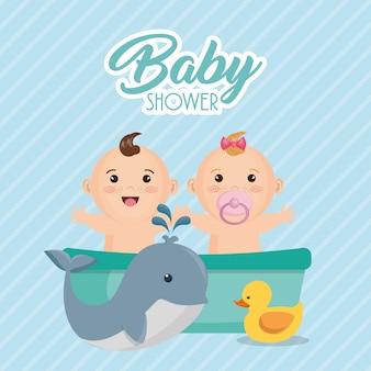 Karta baby shower z małymi dziećmi
