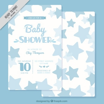 Karta baby shower z niebieskich gwiazd