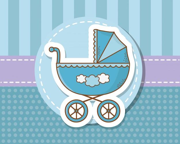 Karta baby shower z niebieskim wózkiem