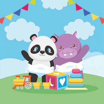 Karta baby shower z pandą i hipopotamem