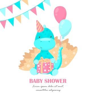 Karta baby shower z uroczym dinozaurem