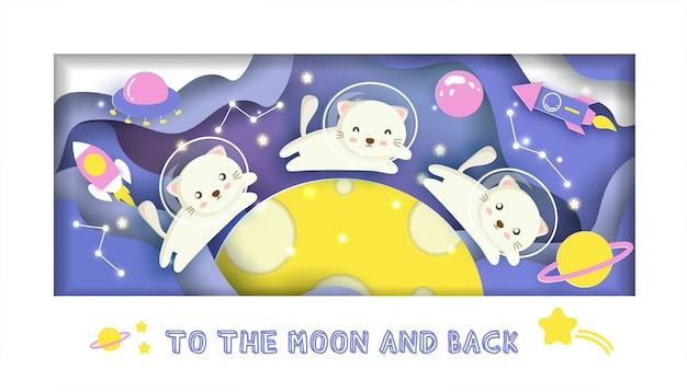 Karta baby shower. z uroczym kotem w galaktyce na kartkę urodzinową, pocztówkę,