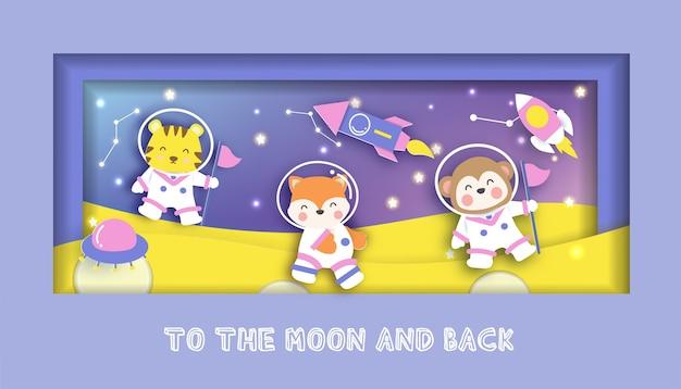 Karta baby shower z uroczymi zwierzętami stojącymi na księżycu.