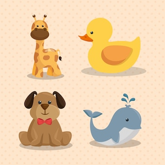 Karta baby shower z uroczymi zwierzętami