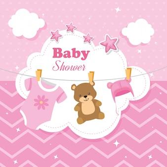 Karta baby shower z wiszącą dekoracją
